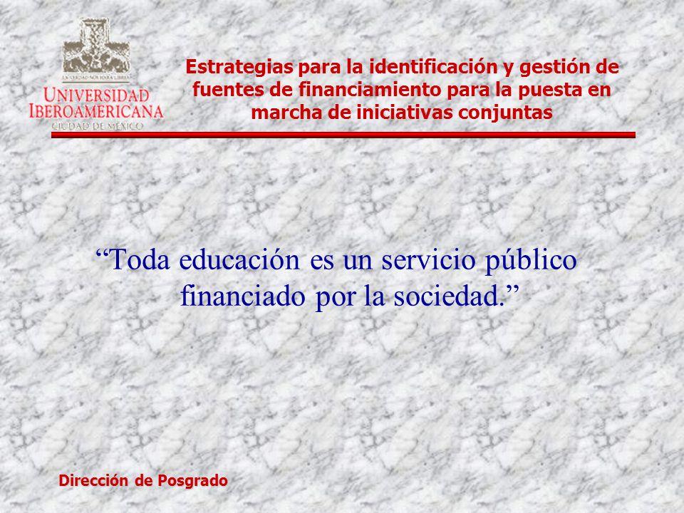 Dirección de Posgrado Estrategias para la identificación y gestión de fuentes de financiamiento para la puesta en marcha de iniciativas conjuntas Toda