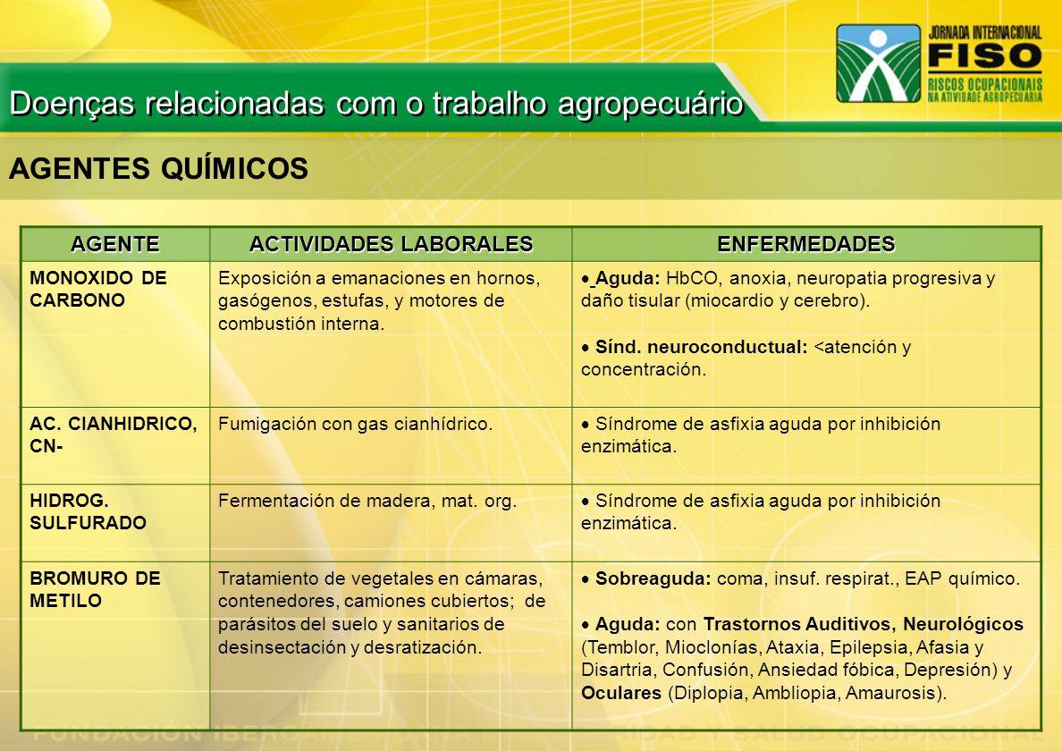 AGENTE ACTIVIDADES LABORALES ENFERMEDADES MONOXIDO DE CARBONO Exposición a emanaciones en hornos, gasógenos, estufas, y motores de combustión interna.