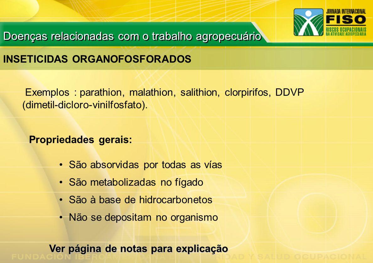 INSETICIDAS ORGANOFOSFORADOS Exemplos : parathion, malathion, salithion, clorpirifos, DDVP (dimetil-dicloro-vinilfosfato). Propriedades gerais: São ab