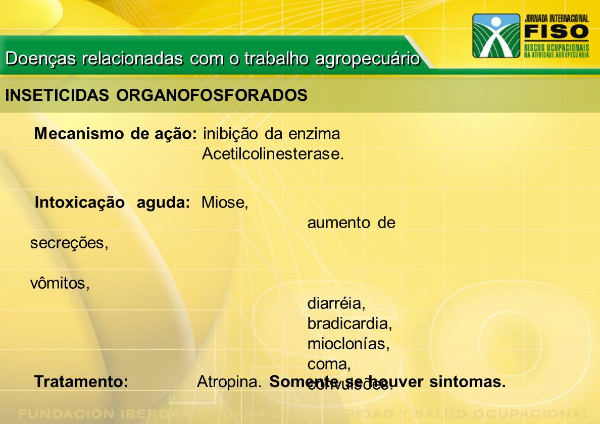 INSETICIDAS ORGANOFOSFORADOS Mecanismo de ação: inibição da enzima Acetilcolinesterase. Intoxicação aguda: Miose, aumento de secreções, vômitos, diarr