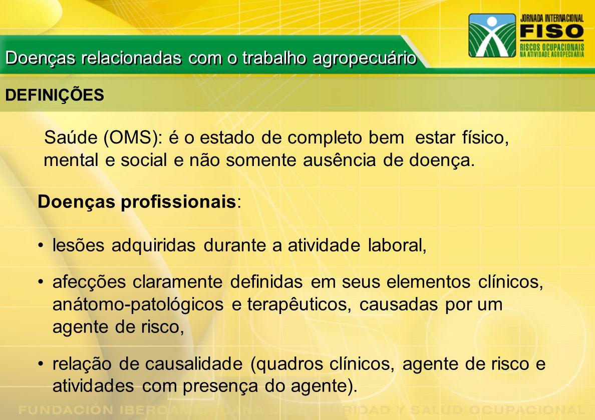 FUMEGANTES ESTADOS FÍSICOS Doenças relacionadas com o trabalho agropecuário