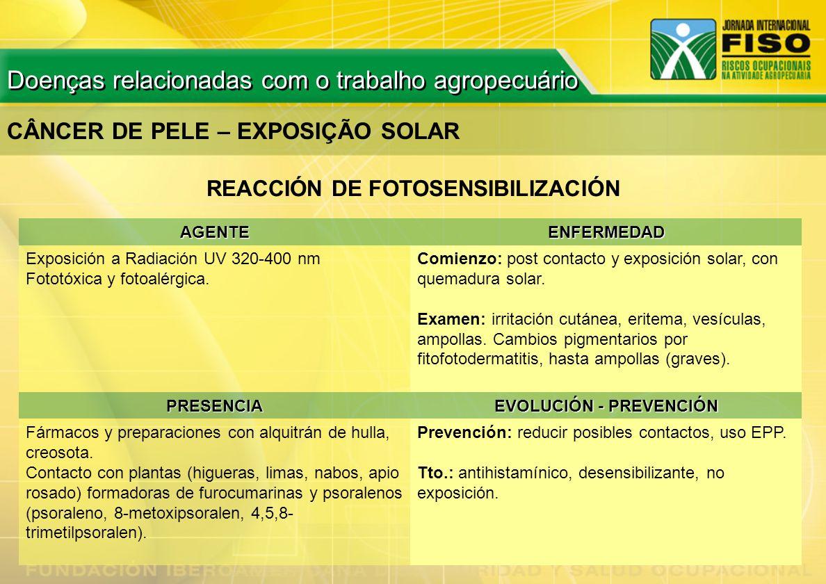 CÂNCER DE PELE – EXPOSIÇÃO SOLAR AGENTEENFERMEDAD Exposición a Radiación UV 320-400 nm Fototóxica y fotoalérgica. Comienzo: post contacto y exposición