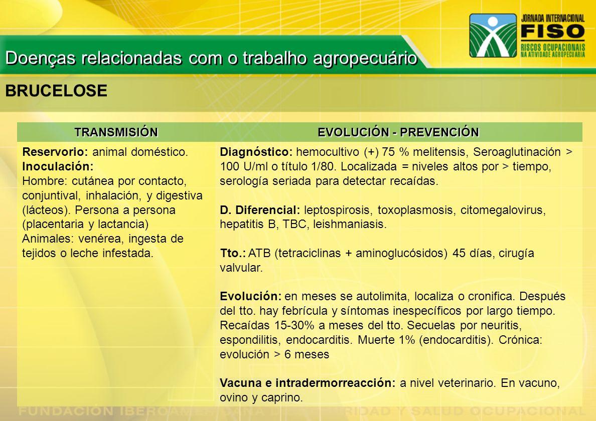 BRUCELOSE TRANSMISIÓN EVOLUCIÓN - PREVENCIÓN Reservorio: animal doméstico. Inoculación: Hombre: cutánea por contacto, conjuntival, inhalación, y diges