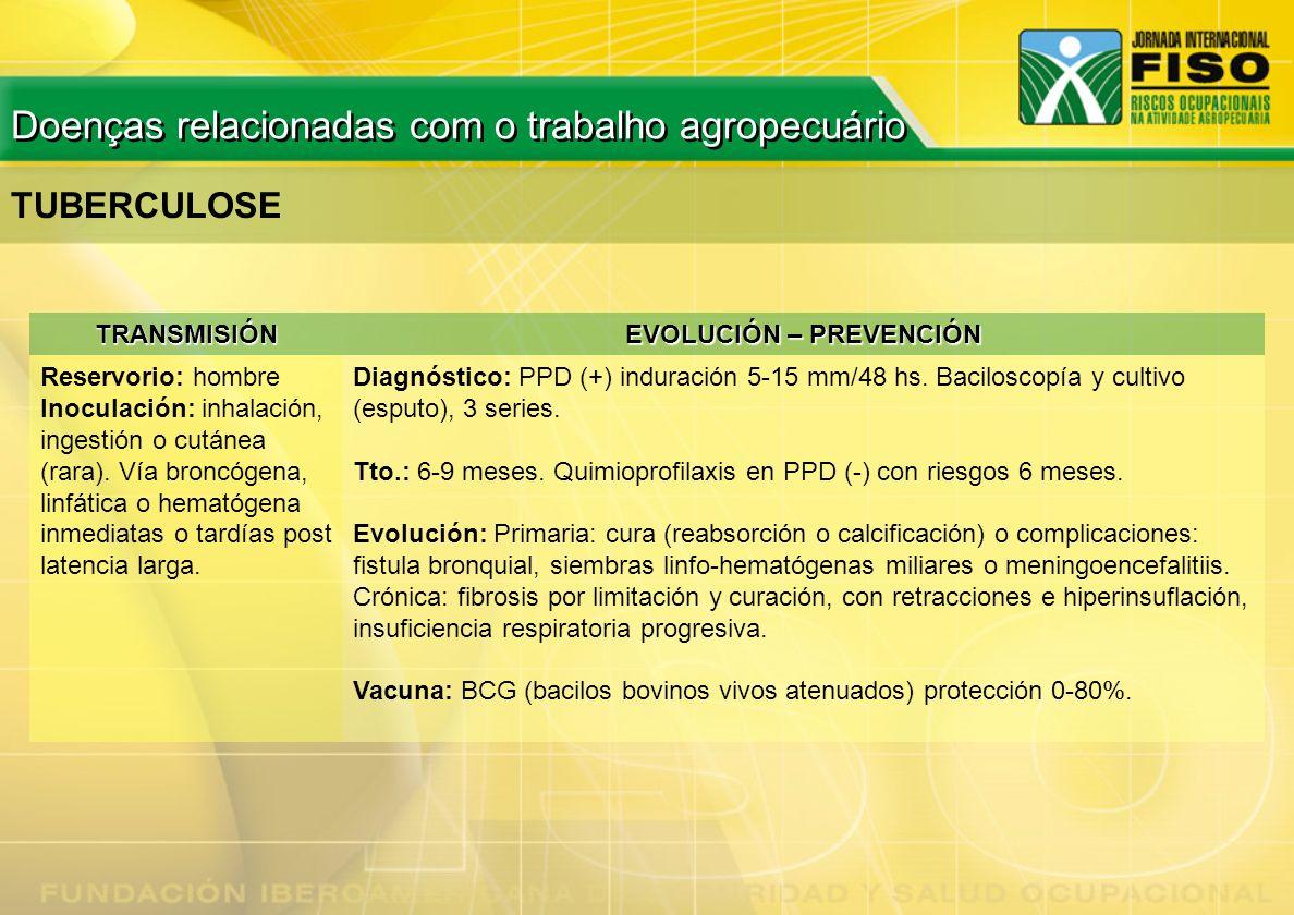TUBERCULOSE TRANSMISIÓN EVOLUCIÓN – PREVENCIÓN Reservorio: hombre Inoculación: inhalación, ingestión o cutánea (rara). Vía broncógena, linfática o hem