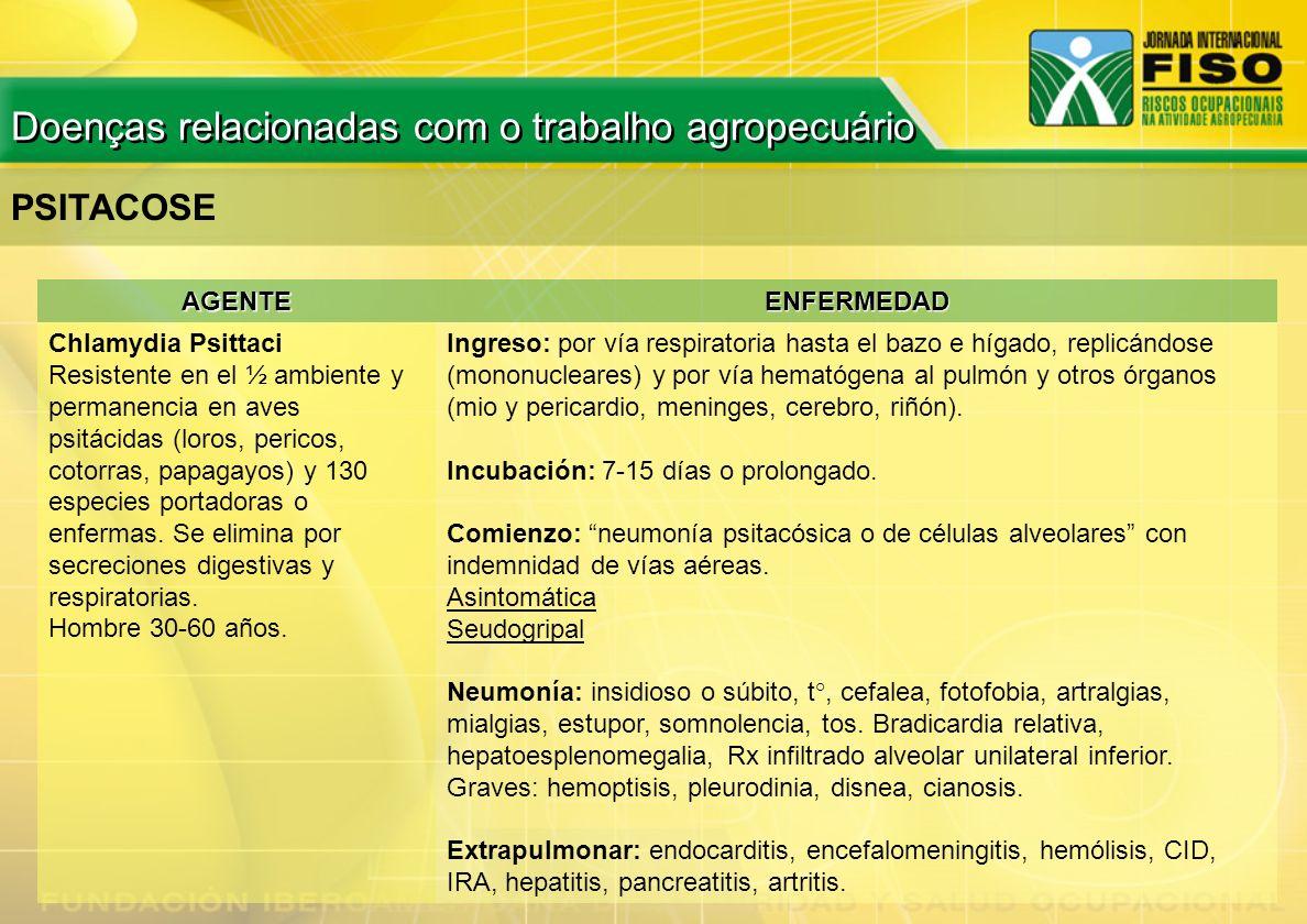 PSITACOSE AGENTEENFERMEDAD Chlamydia Psittaci Resistente en el ½ ambiente y permanencia en aves psitácidas (loros, pericos, cotorras, papagayos) y 130