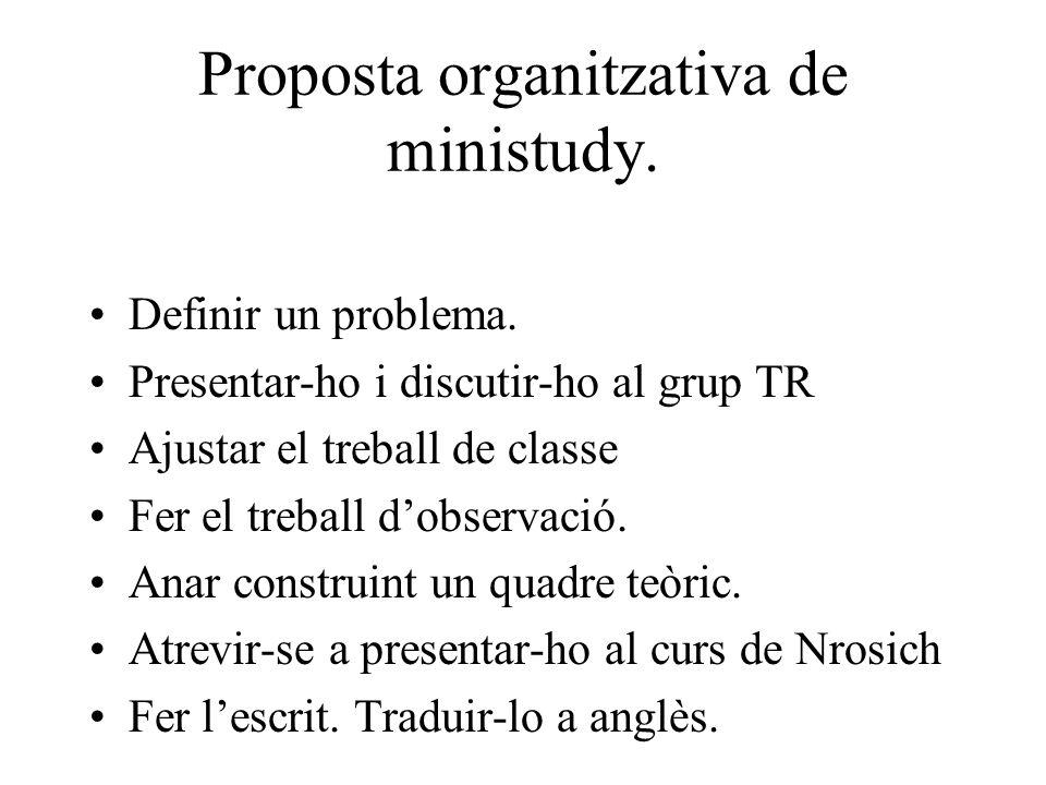 Proposta organitzativa de ministudy.Definir un problema.