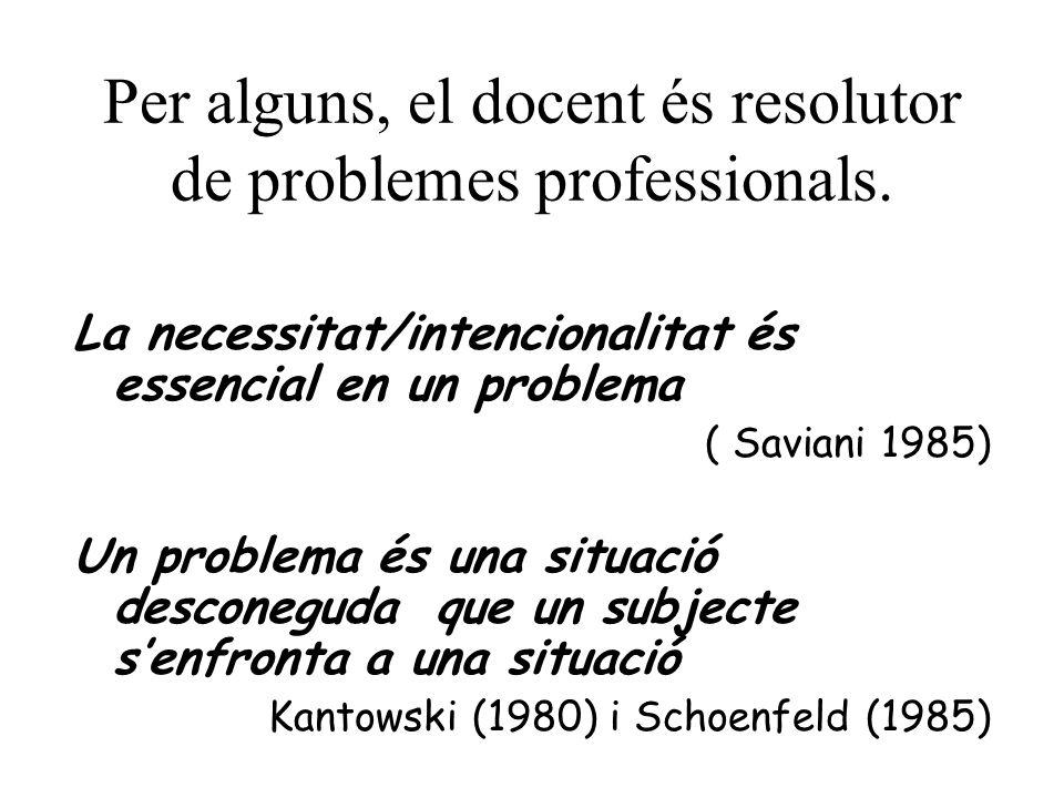 Per alguns, el docent és resolutor de problemes professionals.