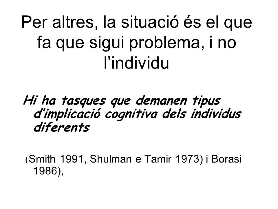 Per altres, la situació és el que fa que sigui problema, i no lindividu Hi ha tasques que demanen tipus dimplicació cognitiva dels individus diferents ( Smith 1991, Shulman e Tamir 1973) i Borasi 1986),