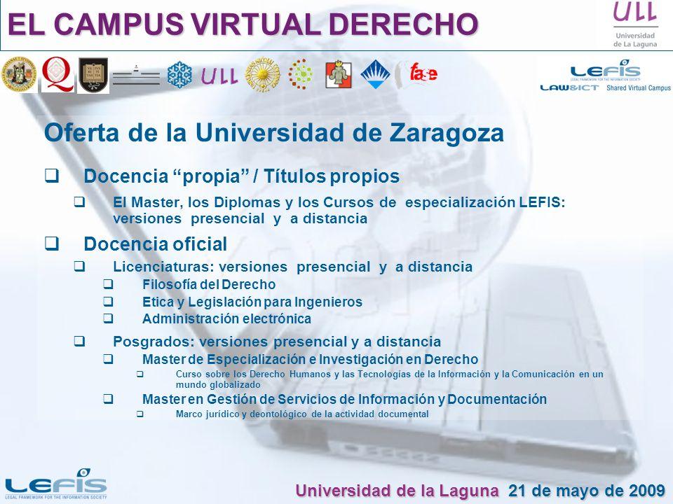 Oferta de la Universidad de Zaragoza Docencia propia / Títulos propios El Master, los Diplomas y los Cursos de especialización LEFIS: versiones presen