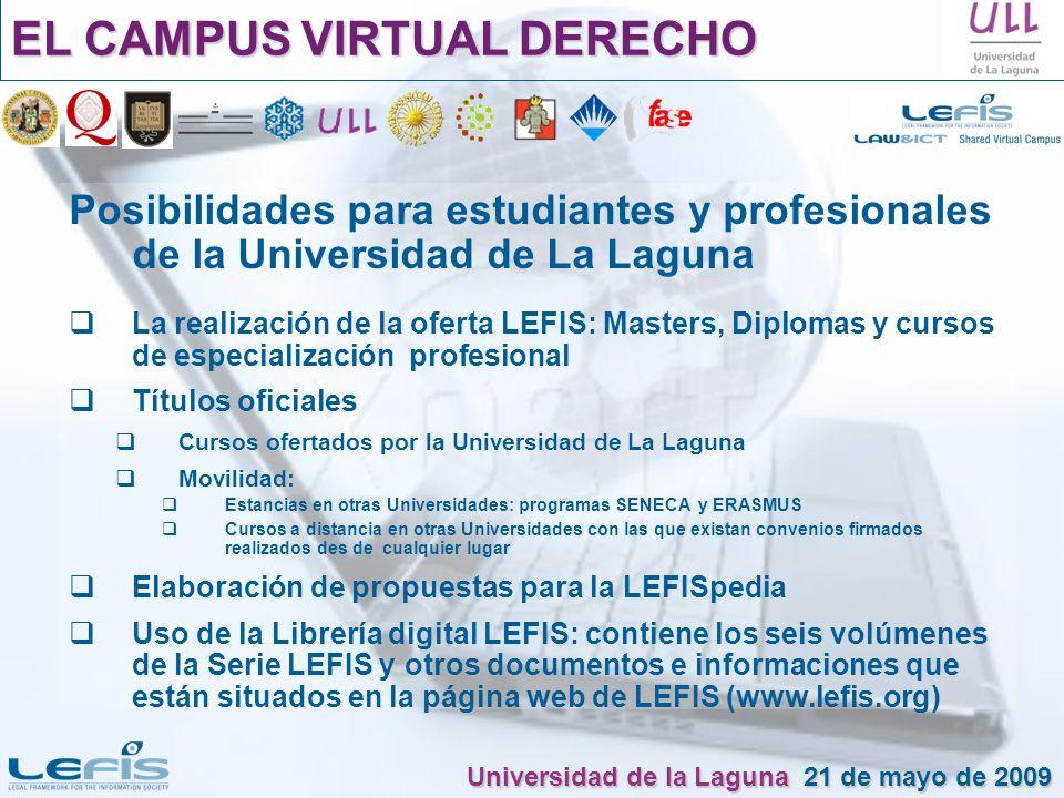 Posibilidades para estudiantes y profesionales de la Universidad de La Laguna La realización de la oferta LEFIS: Masters, Diplomas y cursos de especia