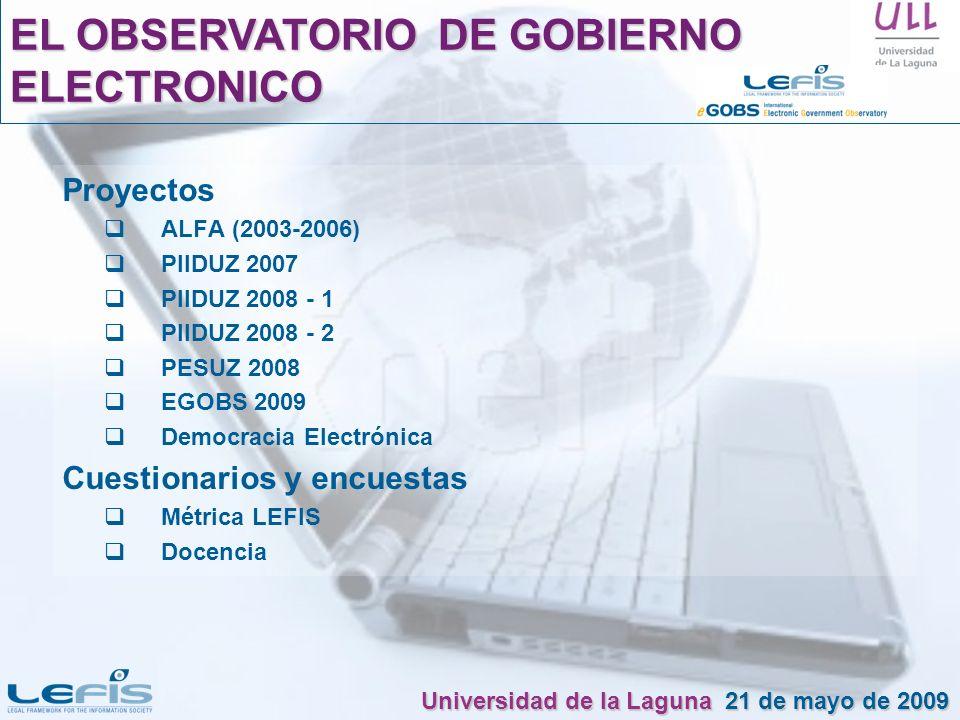 Proyectos ALFA (2003-2006) PIIDUZ 2007 PIIDUZ 2008 - 1 PIIDUZ 2008 - 2 PESUZ 2008 EGOBS 2009 Democracia Electrónica Cuestionarios y encuestas Métrica