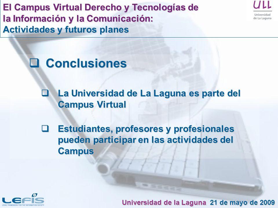 Conclusiones Conclusiones La Universidad de La Laguna es parte del Campus Virtual La Universidad de La Laguna es parte del Campus Virtual Estudiantes,