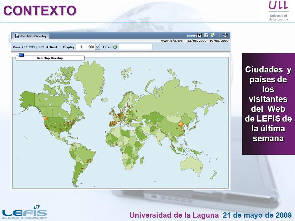 CONTEXTO Ciudades y países de los visitantes del Web de LEFIS de la última semana Universidad de la Laguna 21 de mayo de 2009