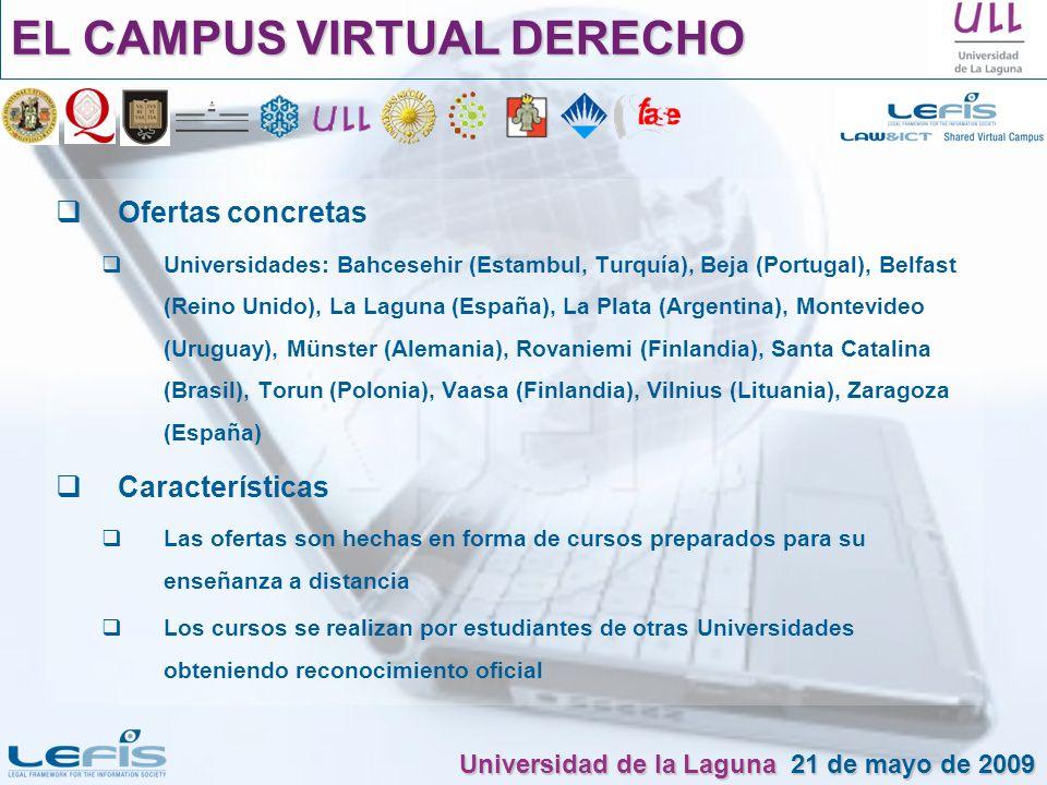 EL CAMPUS VIRTUAL DERECHO Ofertas concretas Universidades: Bahcesehir (Estambul, Turquía), Beja (Portugal), Belfast (Reino Unido), La Laguna (España),