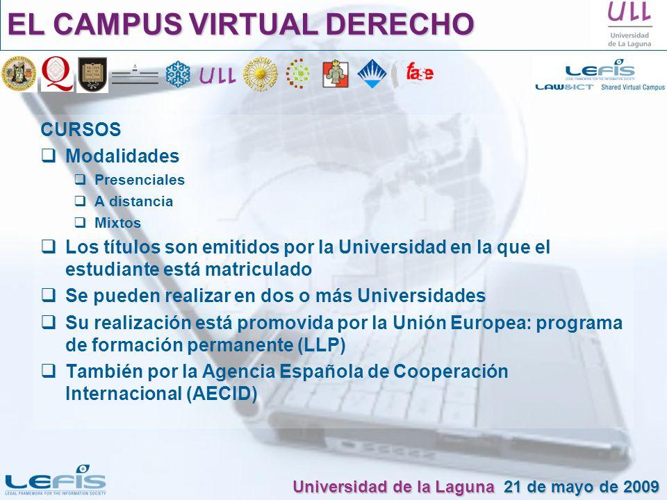 CURSOS Modalidades Presenciales A distancia Mixtos Los títulos son emitidos por la Universidad en la que el estudiante está matriculado Se pueden real