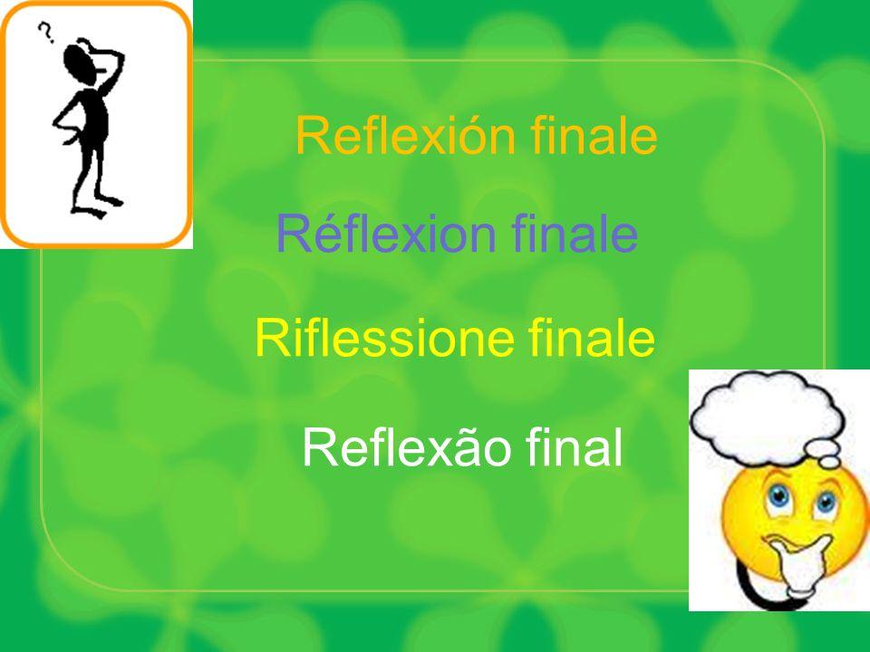 Reflexão final Riflessione finale Reflexión finale Réflexion finale