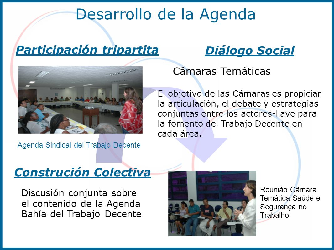 Desarrollo de la Agenda Reunião Câmara Temática Saúde e Segurança no Trabalho Câmaras Temáticas El objetivo de las Cámaras es propiciar la articulació