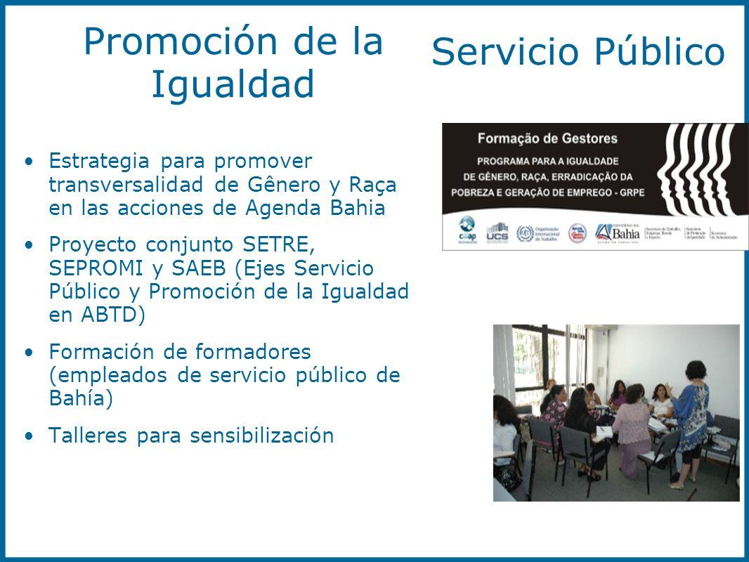 Promoción de la Igualdad Estrategia para promover transversalidad de Gênero y Raça en las acciones de Agenda Bahia Proyecto conjunto SETRE, SEPROMI y