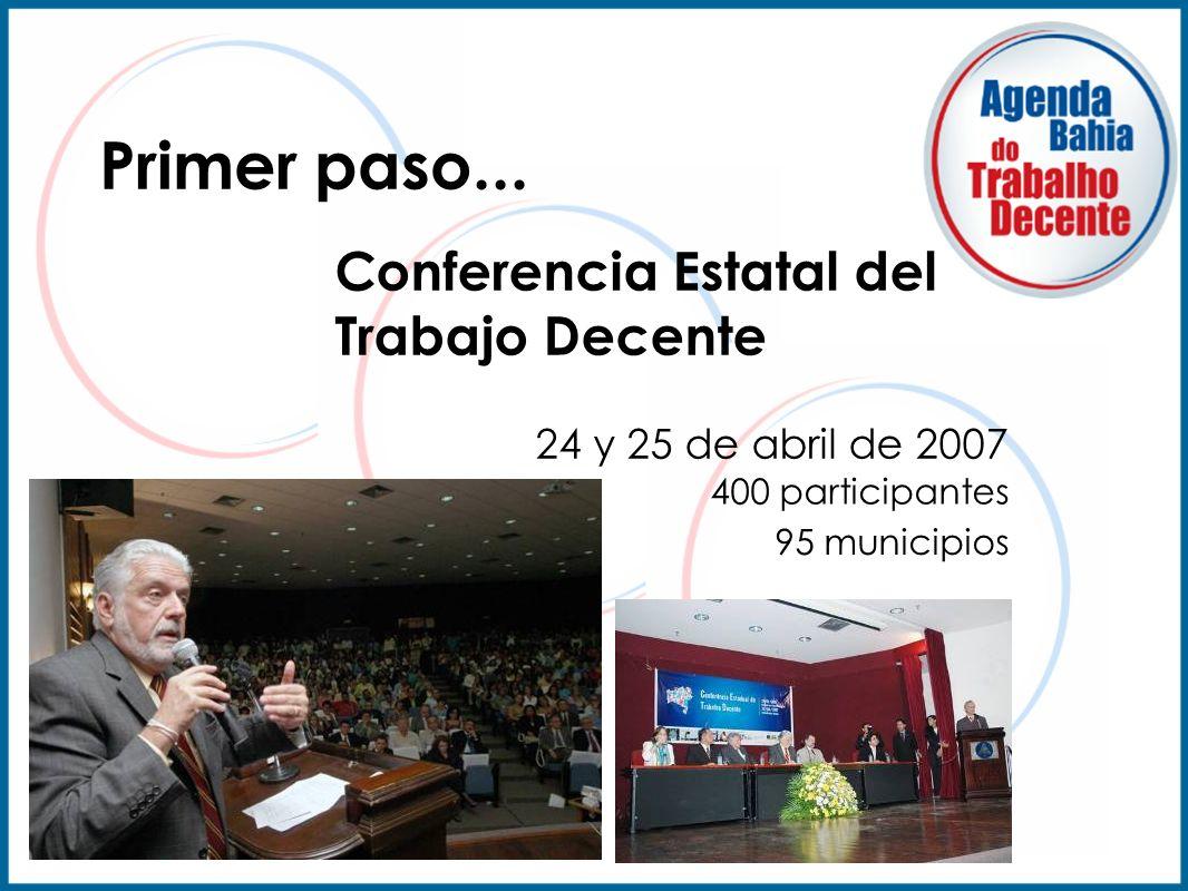 Conferencia Estatal del Trabajo Decente 400 participantes 24 y 25 de abril de 2007 95 municipios Primer paso...