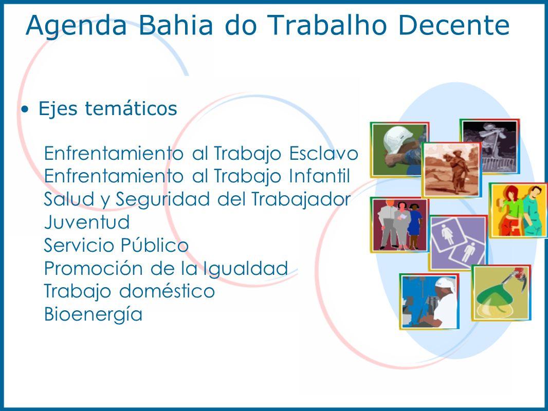 Agenda Bahia do Trabalho Decente Ejes temáticos Enfrentamiento al Trabajo Esclavo Enfrentamiento al Trabajo Infantil Salud y Seguridad del Trabajador