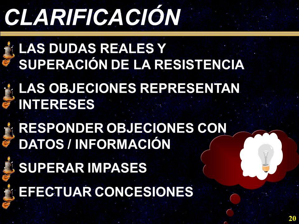 20 CLARIFICACIÓN ·LAS DUDAS REALES Y SUPERACIÓN DE LA RESISTENCIA ·LAS OBJECIONES REPRESENTAN INTERESES ·RESPONDER OBJECIONES CON DATOS / INFORMACIÓN