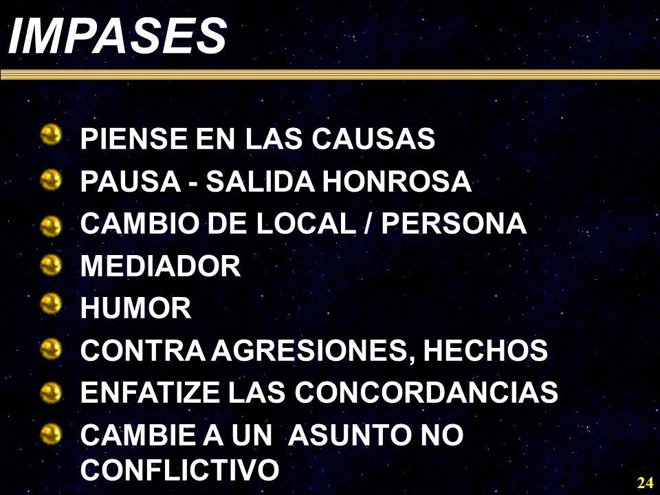 24 IMPASES ·PIENSE EN LAS CAUSAS ·PAUSA - SALIDA HONROSA ·CAMBIO DE LOCAL / PERSONA ·MEDIADOR ·HUMOR ·CONTRA AGRESIONES, HECHOS ·ENFATIZE LAS CONCORDA