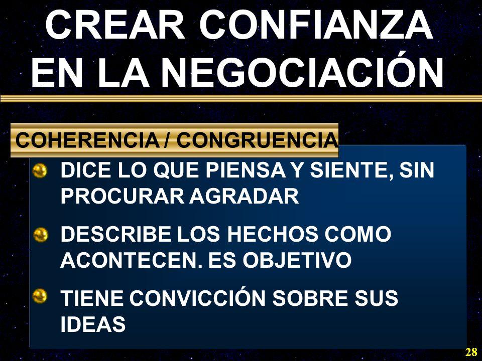 28 DICE LO QUE PIENSA Y SIENTE, SIN PROCURAR AGRADAR DESCRIBE LOS HECHOS COMO ACONTECEN. ES OBJETIVO TIENE CONVICCIÓN SOBRE SUS IDEAS COHERENCIA / CON