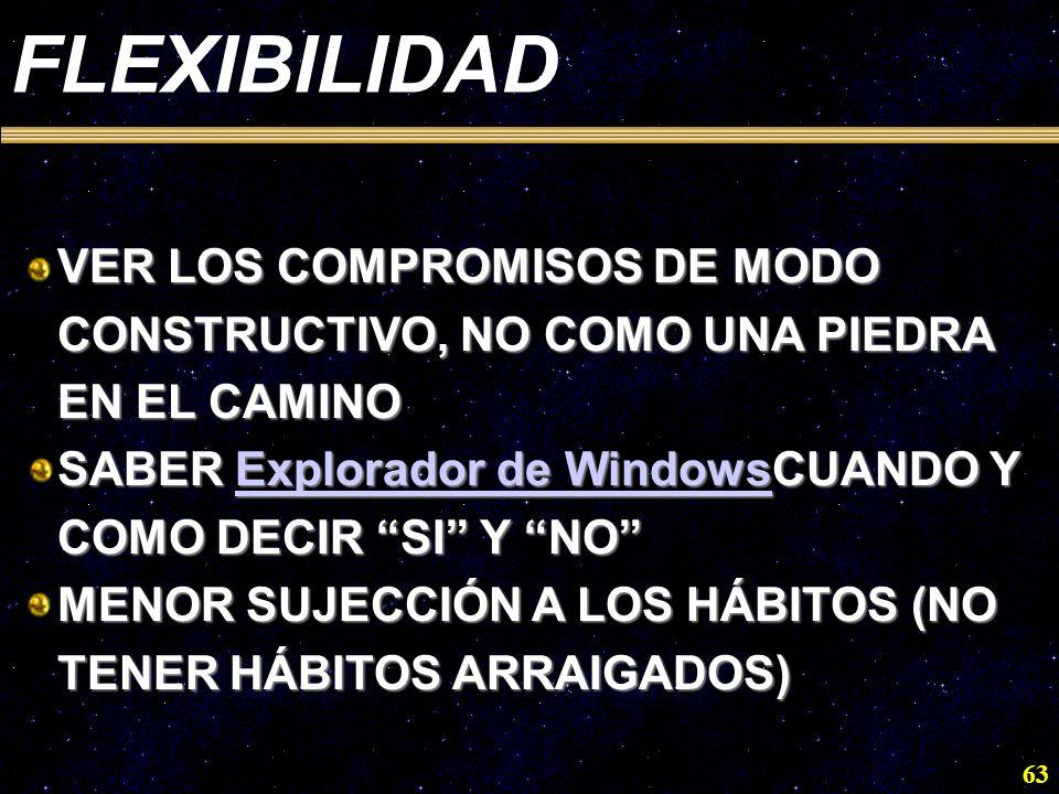 63 FLEXIBILIDAD VER LOS COMPROMISOS DE MODO CONSTRUCTIVO, NO COMO UNA PIEDRA EN EL CAMINO SABER Explorador de WindowsCUANDO Y COMO DECIR SI Y NO Explo