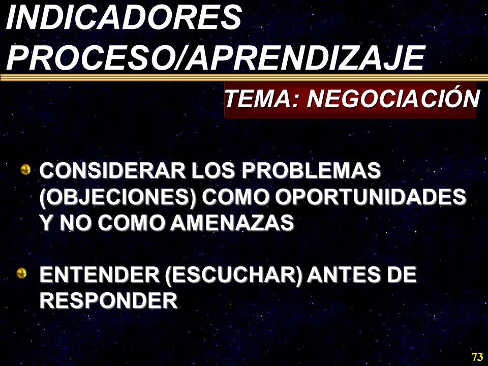 73 CONSIDERAR LOS PROBLEMAS (OBJECIONES) COMO OPORTUNIDADES Y NO COMO AMENAZAS ENTENDER (ESCUCHAR) ANTES DE RESPONDER TEMA: NEGOCIACIÓN INDICADORES PR