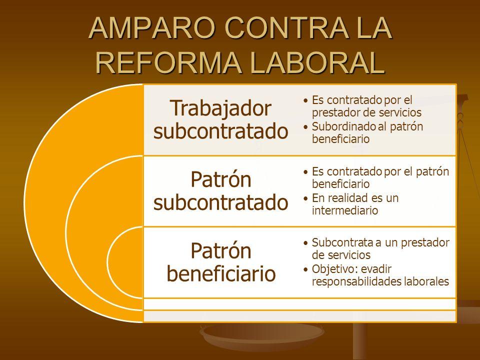 AMPARO CONTRA LA REFORMA LABORAL Trabajador subcontratado Patrón subcontratado Patrón beneficiario Es contratado por el prestador de serviciosEs contr