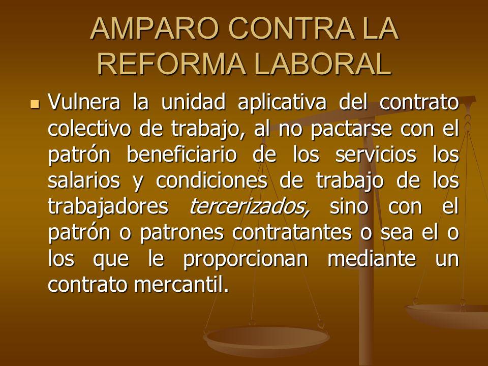 AMPARO CONTRA LA REFORMA LABORAL Vulnera la unidad aplicativa del contrato colectivo de trabajo, al no pactarse con el patrón beneficiario de los serv