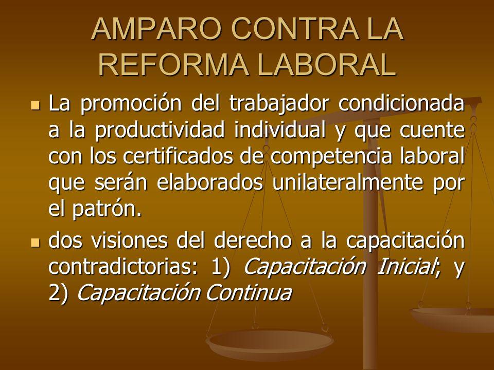 AMPARO CONTRA LA REFORMA LABORAL La promoción del trabajador condicionada a la productividad individual y que cuente con los certificados de competenc