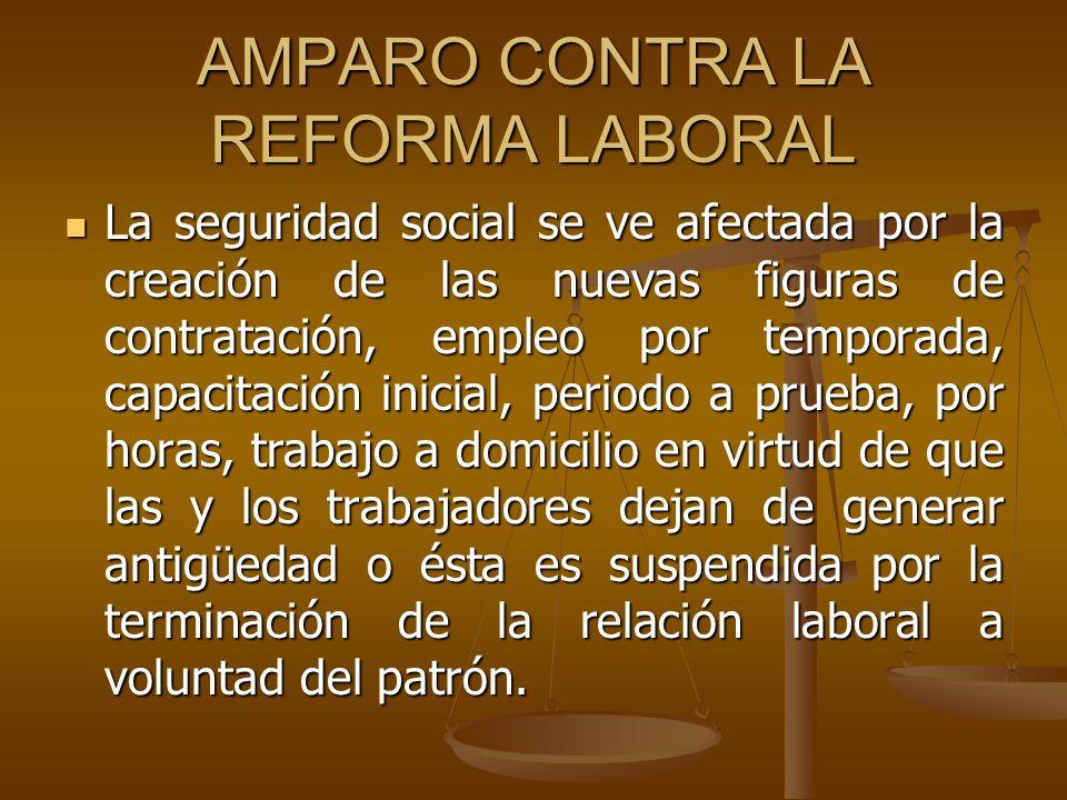 AMPARO CONTRA LA REFORMA LABORAL La seguridad social se ve afectada por la creación de las nuevas figuras de contratación, empleo por temporada, capac
