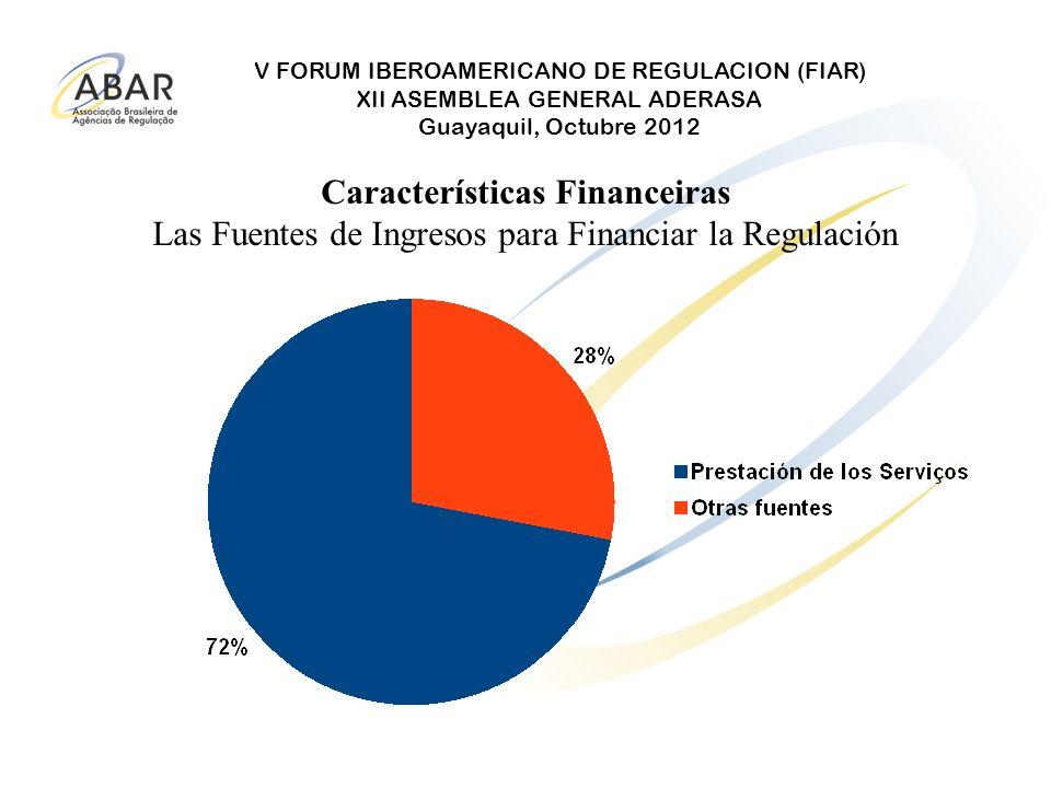 V FORUM IBEROAMERICANO DE REGULACION (FIAR) XII ASEMBLEA GENERAL ADERASA Guayaquil, Octubre 2012 Características Financeiras Las Fuentes de Ingresos p