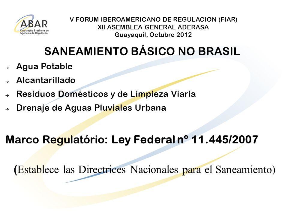 V FORUM IBEROAMERICANO DE REGULACION (FIAR) XII ASEMBLEA GENERAL ADERASA Guayaquil, Octubre 2012 SANEAMIENTO BÁSICO NO BRASIL Agua Potable Alcantarill
