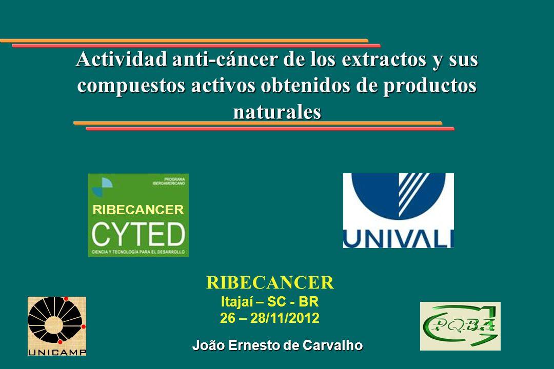 Actividad anti-cáncer de los extractos y sus compuestos activos obtenidos de productos naturales João Ernesto de Carvalho RIBECANCER Itajaí – SC - BR