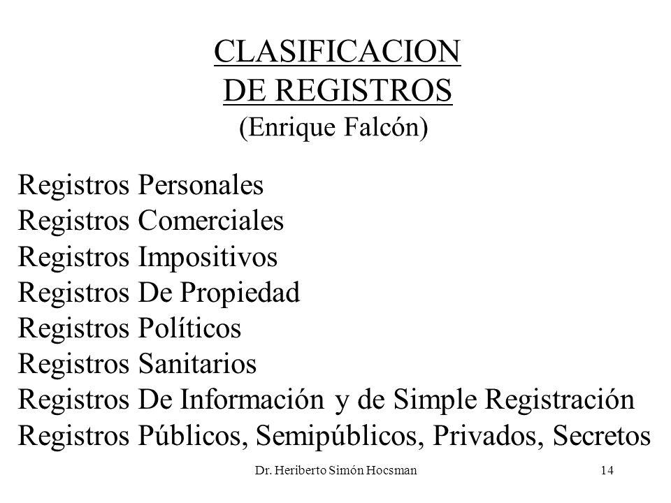 Dr. Heriberto Simón Hocsman14 CLASIFICACION DE REGISTROS (Enrique Falcón) Registros Personales Registros Comerciales Registros Impositivos Registros D