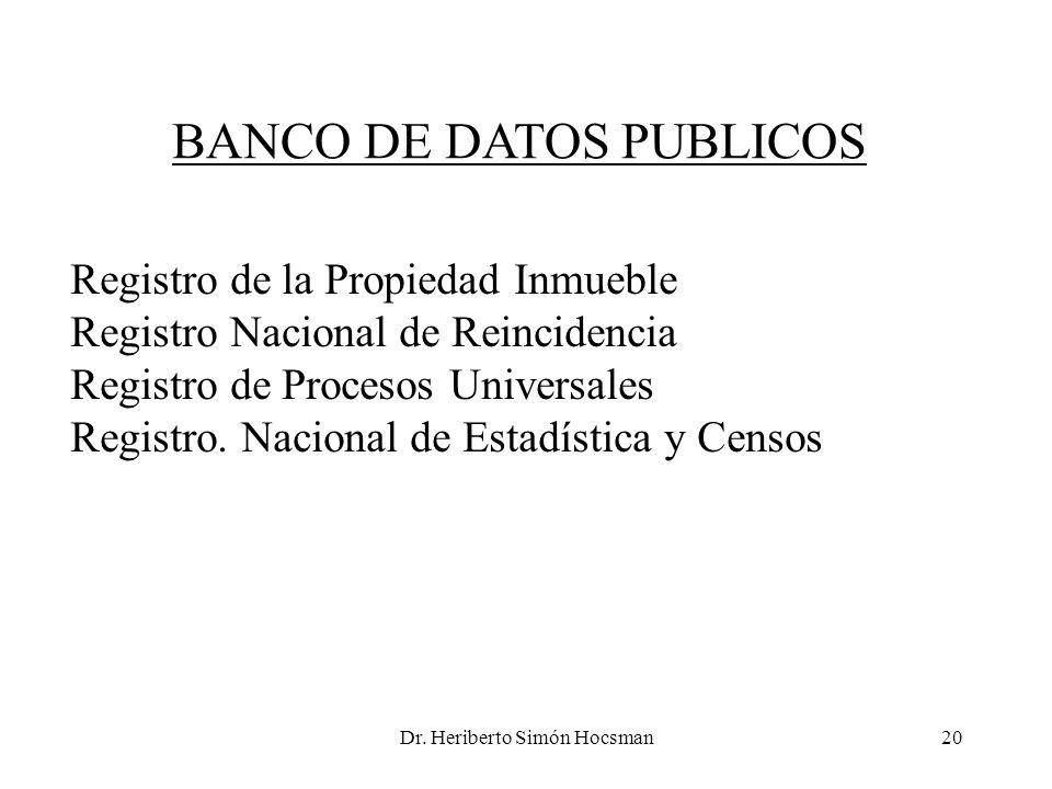 Dr. Heriberto Simón Hocsman20 BANCO DE DATOS PUBLICOS Registro de la Propiedad Inmueble Registro Nacional de Reincidencia Registro de Procesos Univers