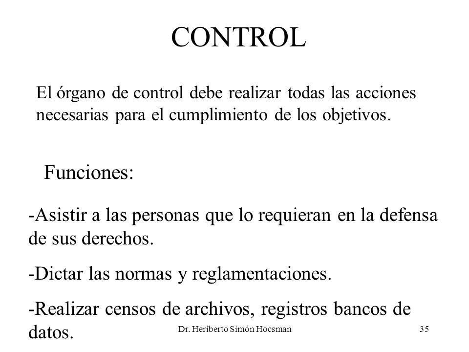 Dr. Heriberto Simón Hocsman35 CONTROL El órgano de control debe realizar todas las acciones necesarias para el cumplimiento de los objetivos. Funcione