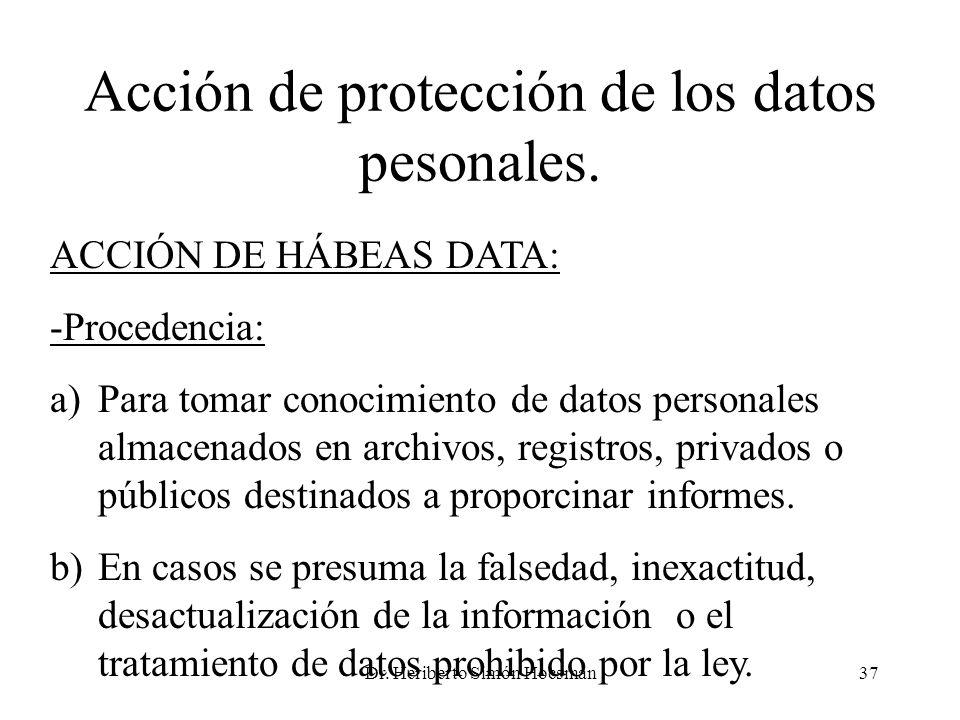 Dr. Heriberto Simón Hocsman37 Acción de protección de los datos pesonales. ACCIÓN DE HÁBEAS DATA: -Procedencia: a)Para tomar conocimiento de datos per