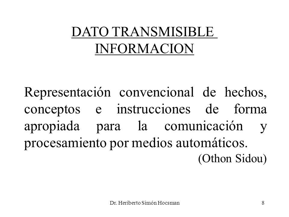 Dr. Heriberto Simón Hocsman8 DATO TRANSMISIBLE INFORMACION Representación convencional de hechos, conceptos e instrucciones de forma apropiada para la