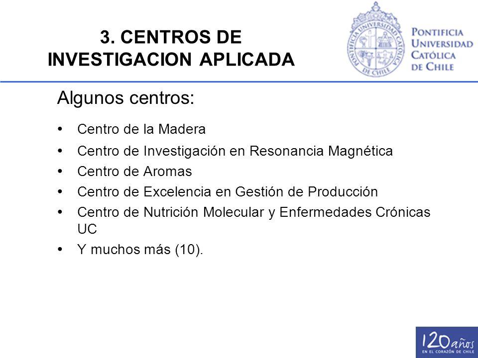Algunos centros: Centro de la Madera Centro de Investigación en Resonancia Magnética Centro de Aromas Centro de Excelencia en Gestión de Producción Ce