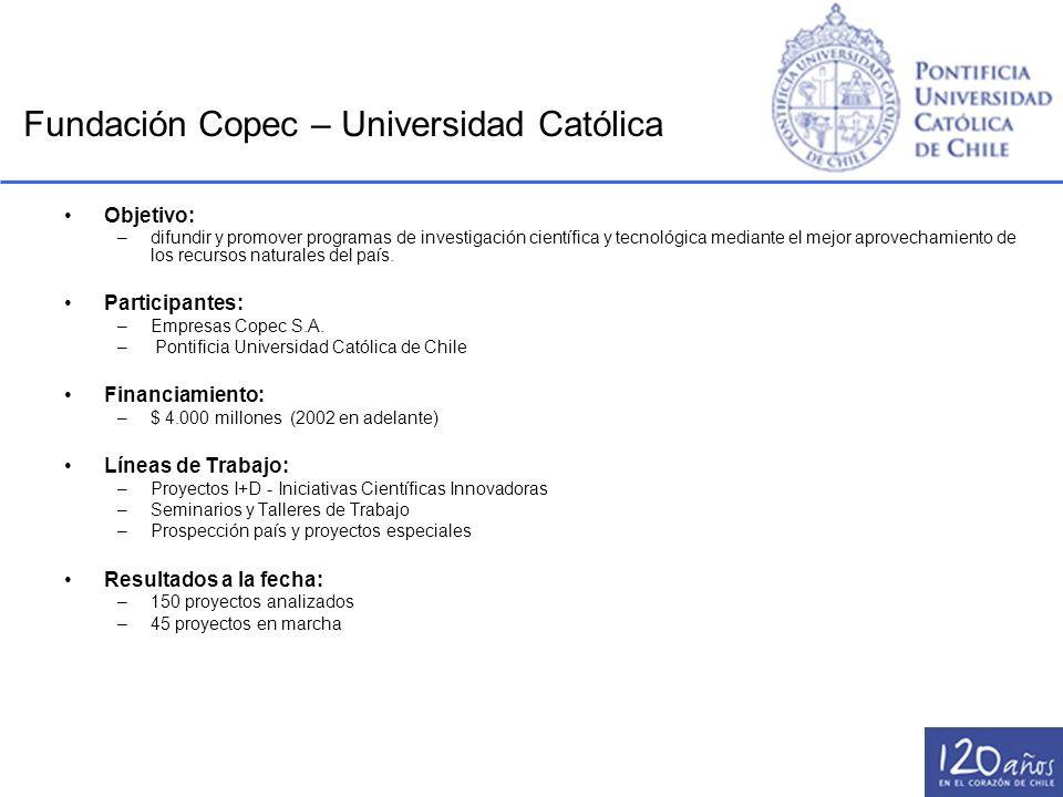 Fundación Copec – Universidad Católica Objetivo: –difundir y promover programas de investigación científica y tecnológica mediante el mejor aprovecham
