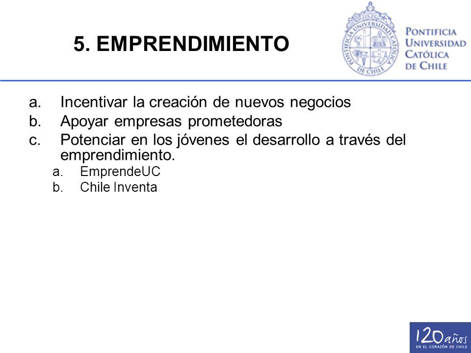 5. EMPRENDIMIENTO a.Incentivar la creación de nuevos negocios b.Apoyar empresas prometedoras c.Potenciar en los jóvenes el desarrollo a través del emp