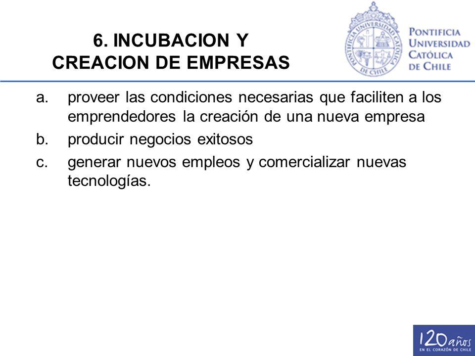 6. INCUBACION Y CREACION DE EMPRESAS a.proveer las condiciones necesarias que faciliten a los emprendedores la creación de una nueva empresa b.produci