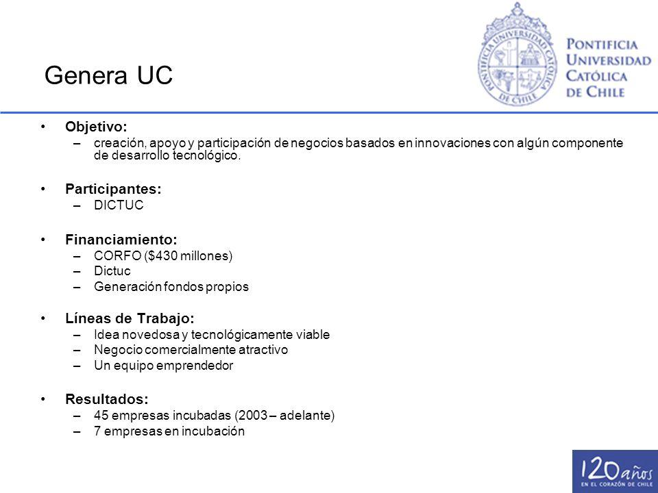 Genera UC Objetivo: –creación, apoyo y participación de negocios basados en innovaciones con algún componente de desarrollo tecnológico. Participantes