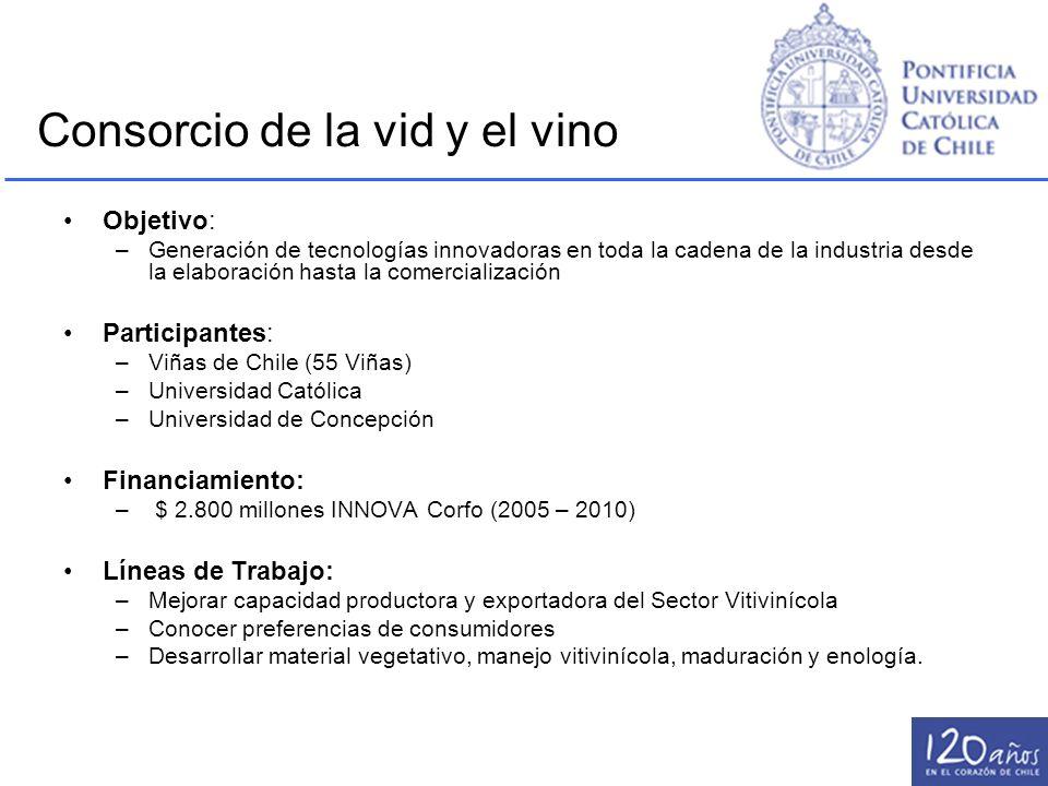 Consorcio de la vid y el vino Objetivo: –Generación de tecnologías innovadoras en toda la cadena de la industria desde la elaboración hasta la comerci