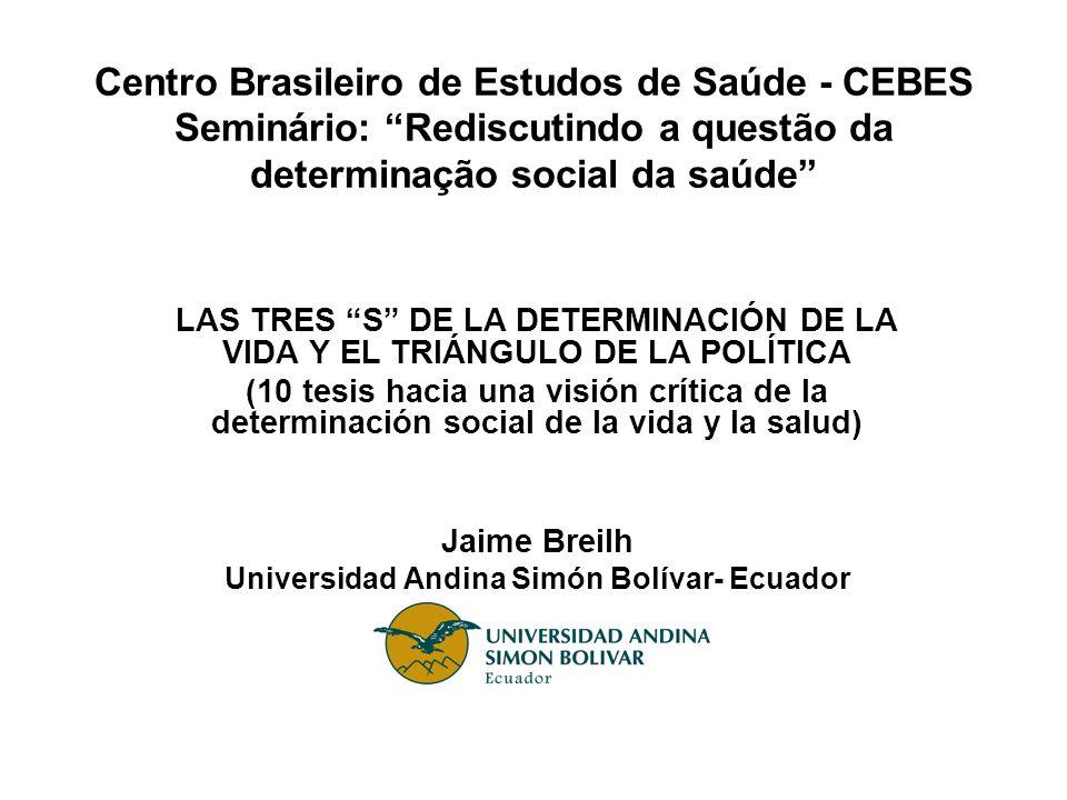 Centro Brasileiro de Estudos de Saúde - CEBES Seminário: Rediscutindo a questão da determinação social da saúde LAS TRES S DE LA DETERMINACIÓN DE LA V