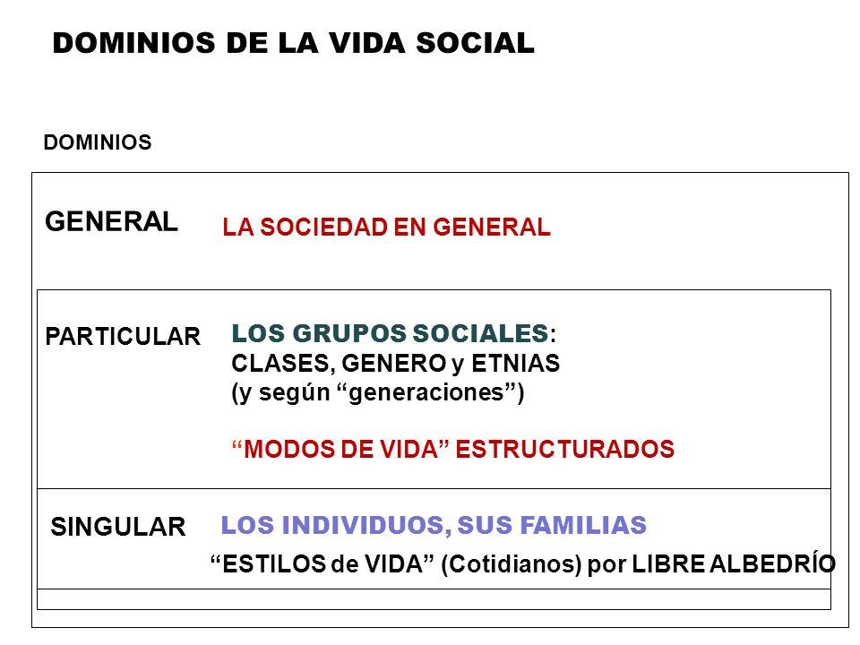DOMINIOS DE LA VIDA SOCIAL DOMINIOS SINGULAR LA SOCIEDAD EN GENERAL LOS GRUPOS SOCIALES : CLASES, GENERO y ETNIAS (y según generaciones) GENERAL PARTI