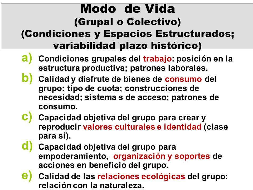Modo de Vida (Grupal o Colectivo) (Condiciones y Espacios Estructurados; variabilidad plazo histórico) a) Condiciones grupales del trabajo: posición e